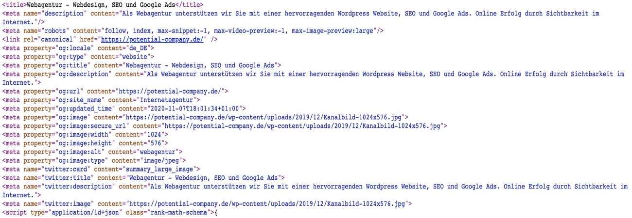 Quellcode SEO Website